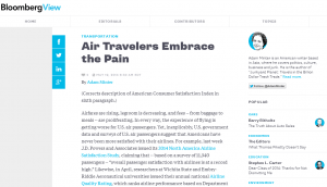 Screen dump of Bloomberg Article on airline customer satisfaction