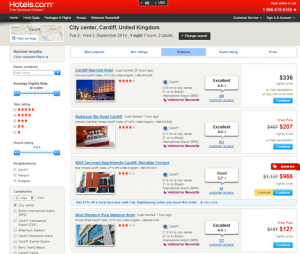 Search for hotels in Cardiff