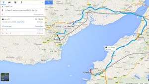 "Google maps showing what a ""25 mile"" booking could have cost."