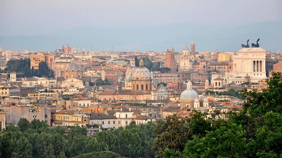 View of Rome from Janiculum hill, located just over the Tiber river.
