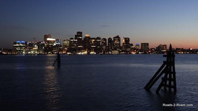 The nightime view of Boston harbor from Boston Intercontintal Hotel.