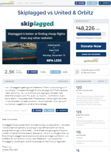 skiplagged.com legal defence fund against being sued by United and Orbitz
