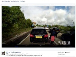 An insurance scam attempt captured on dashcam. The driver did not even hit her !