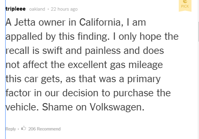 One upset New York Times Jetta owner who was so angry, they wrote a stern comment.. That will show them.