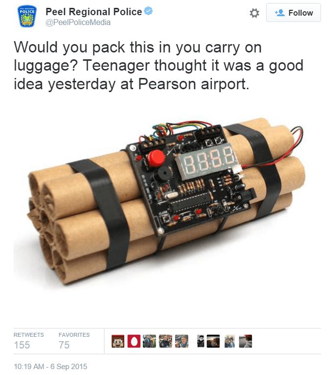 Tweet from Canada's Peel Police.