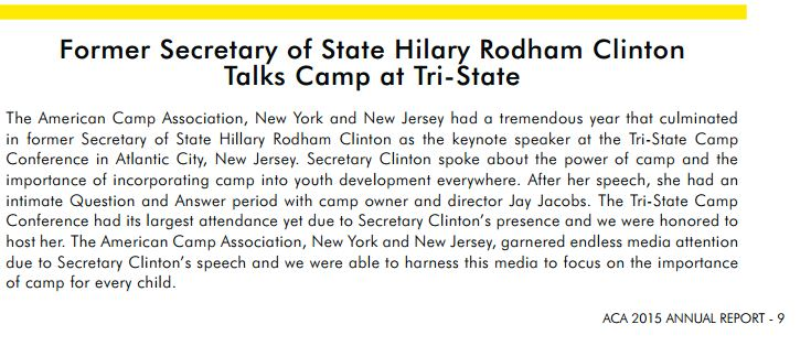 2015 report from ACA calling out HRC's talk. Apparently Camp is very powerful.